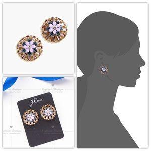 J.CREW Flower Crystal Stud Earrings Lavender